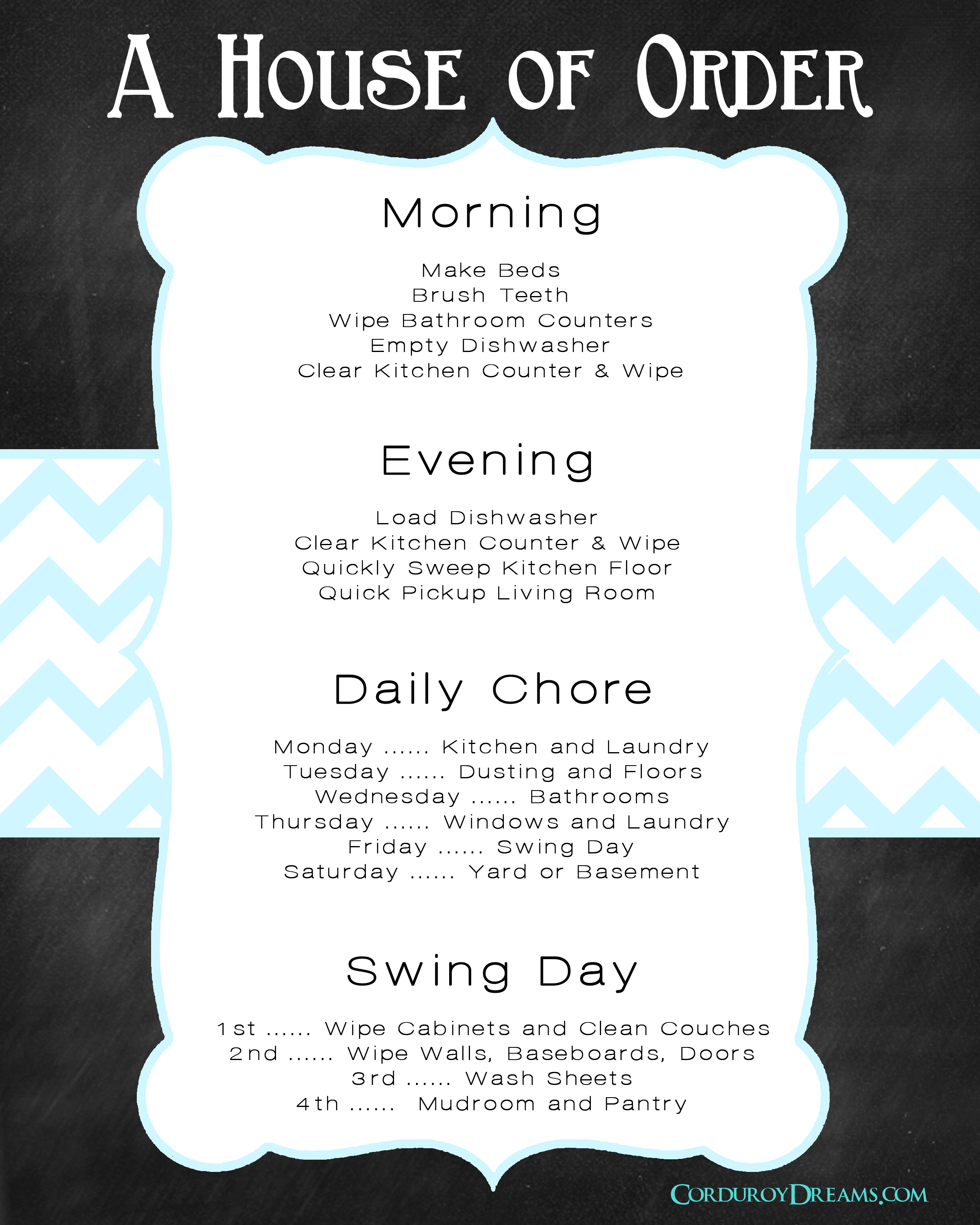 house cleaning schedule  free download
