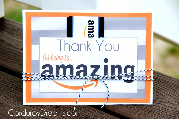 Thank You with Amazon Gift Card {free printable download} - The ...