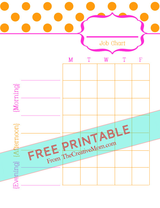image relating to Printable Job Chart called Printable Undertaking Charts for Little ones Free of charge Obtain - The Artistic Mother