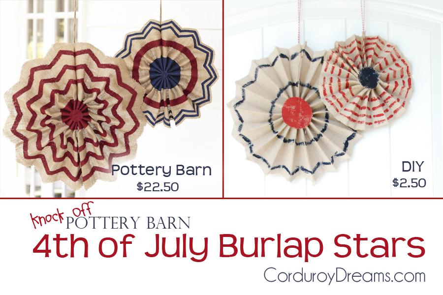 4th of July Burlap Stars {Pottery Barn Knock off}