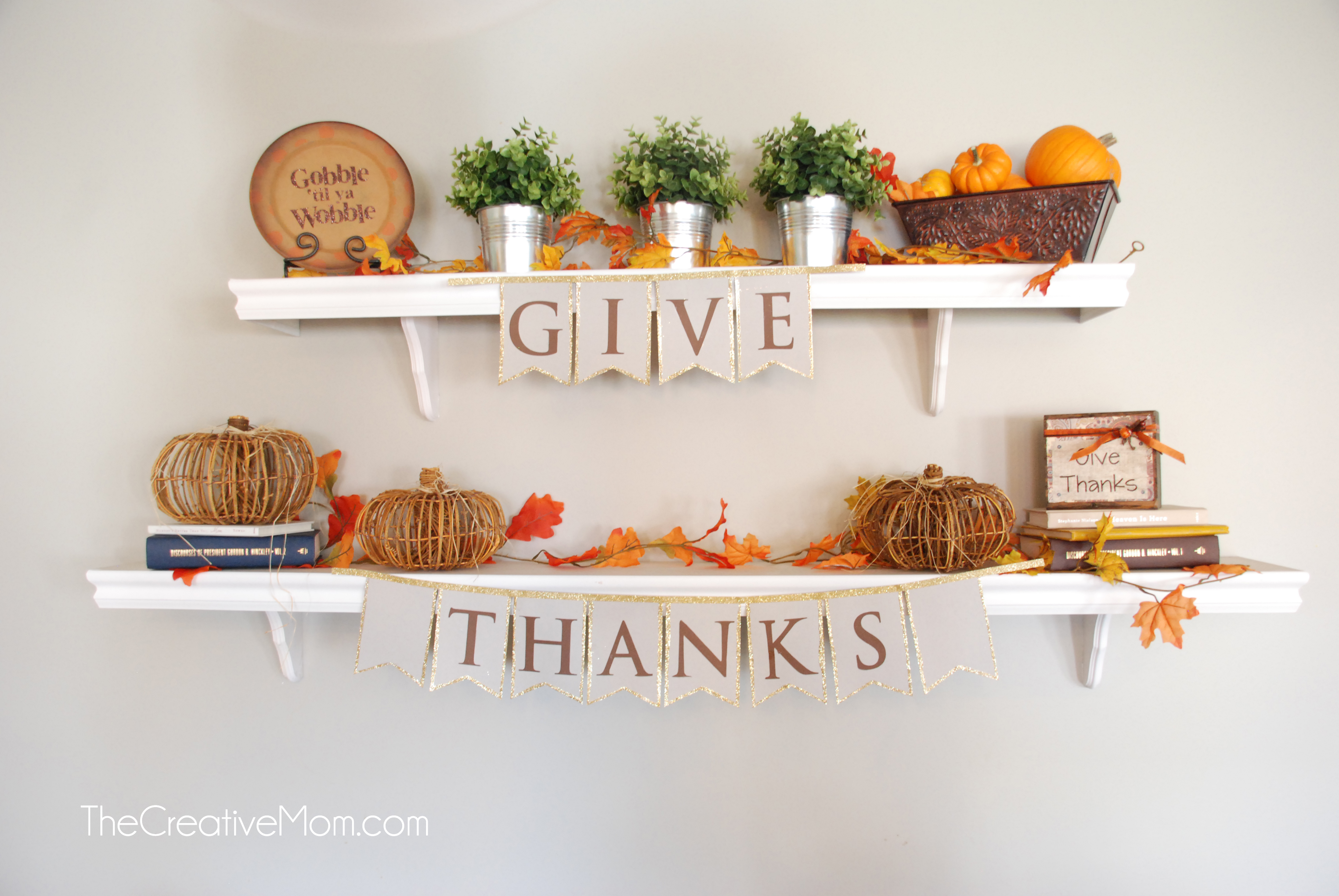 Thanksgiving Mantle {or shelves in my case}