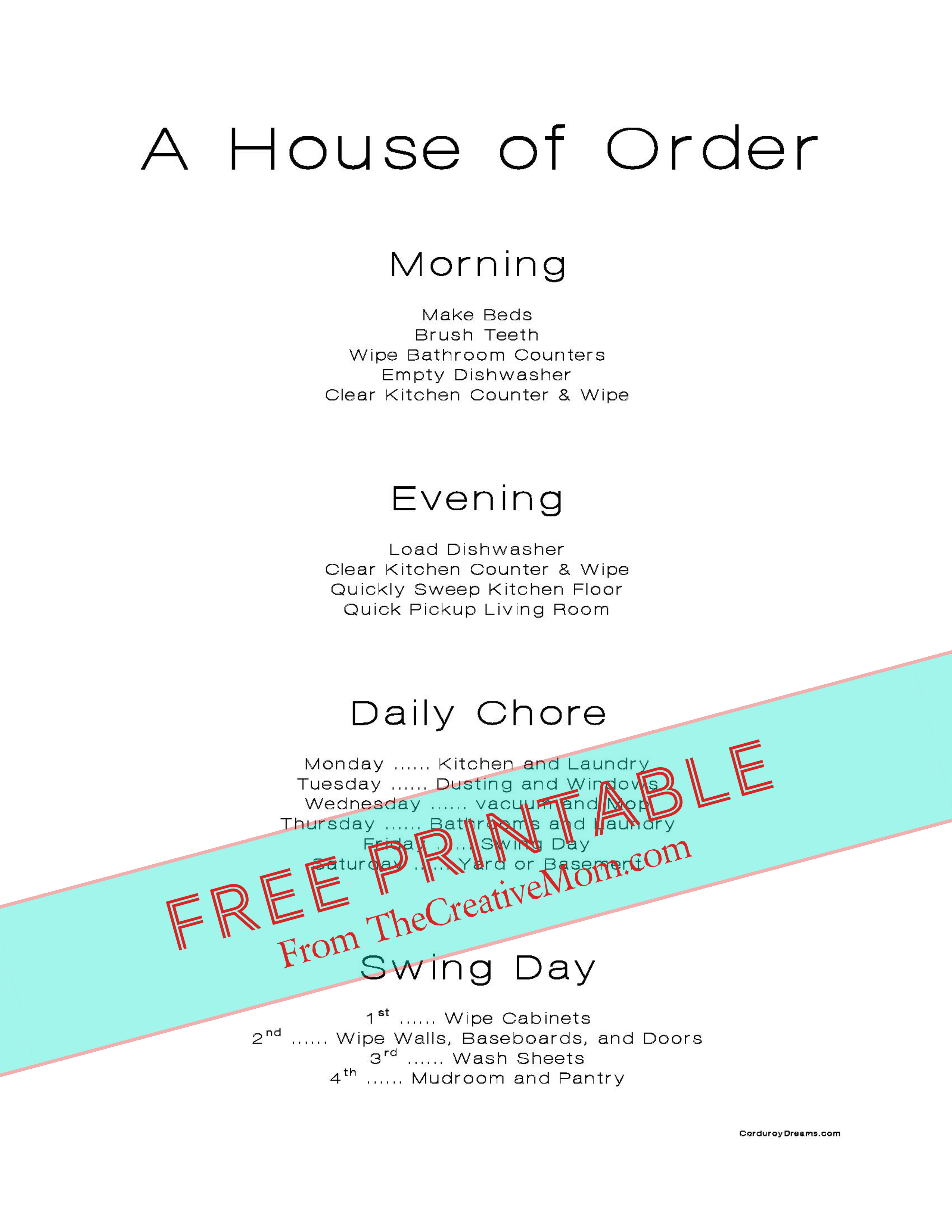 Free Printable Chore Charts (for kids and adults)