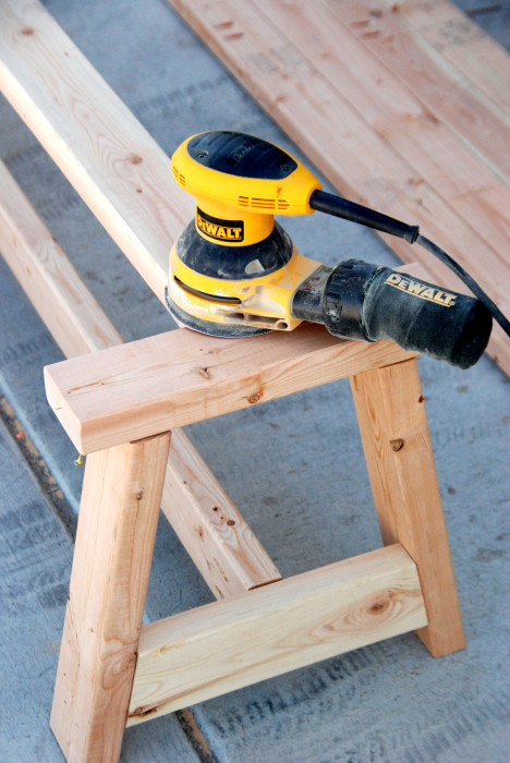 orbital sander DIY 2x4 farmhouse bench