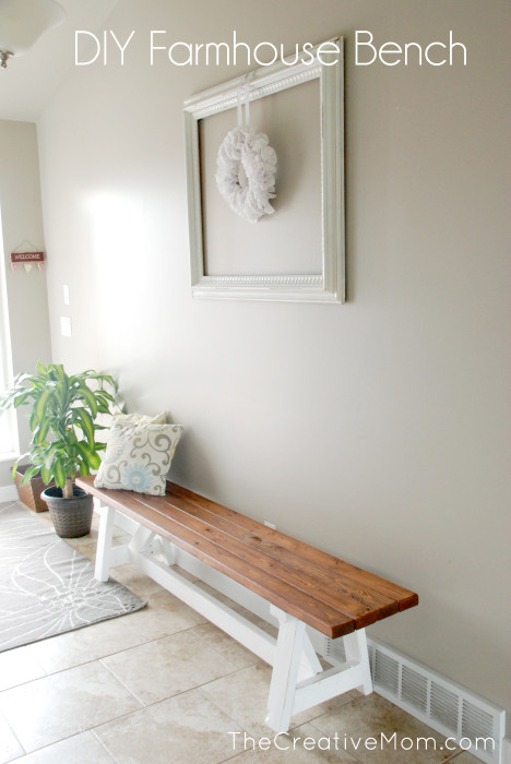 Farmhouse Foyer Bench : How to build a farmhouse bench for under the