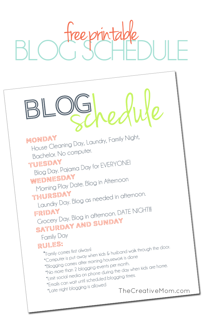 Blog Schedule (free printable)