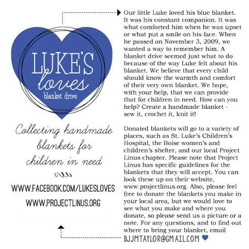 How to Make a Simple Blanket & Luke's Loves, Project Linus