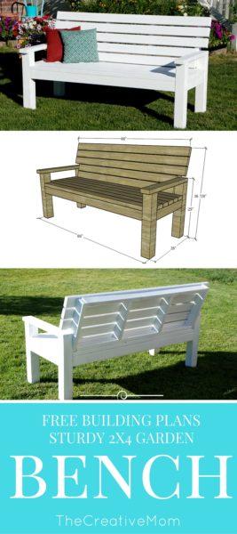 Astounding Diy Sturdy Garden Bench Free Building Plans The Creative Mom Inzonedesignstudio Interior Chair Design Inzonedesignstudiocom