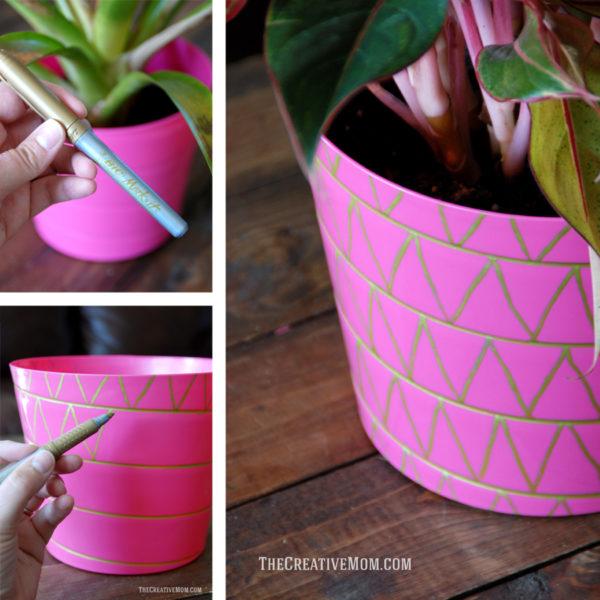 decorated plant pot