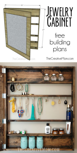 Jewelry Cabinet free building plans The Creative Mom
