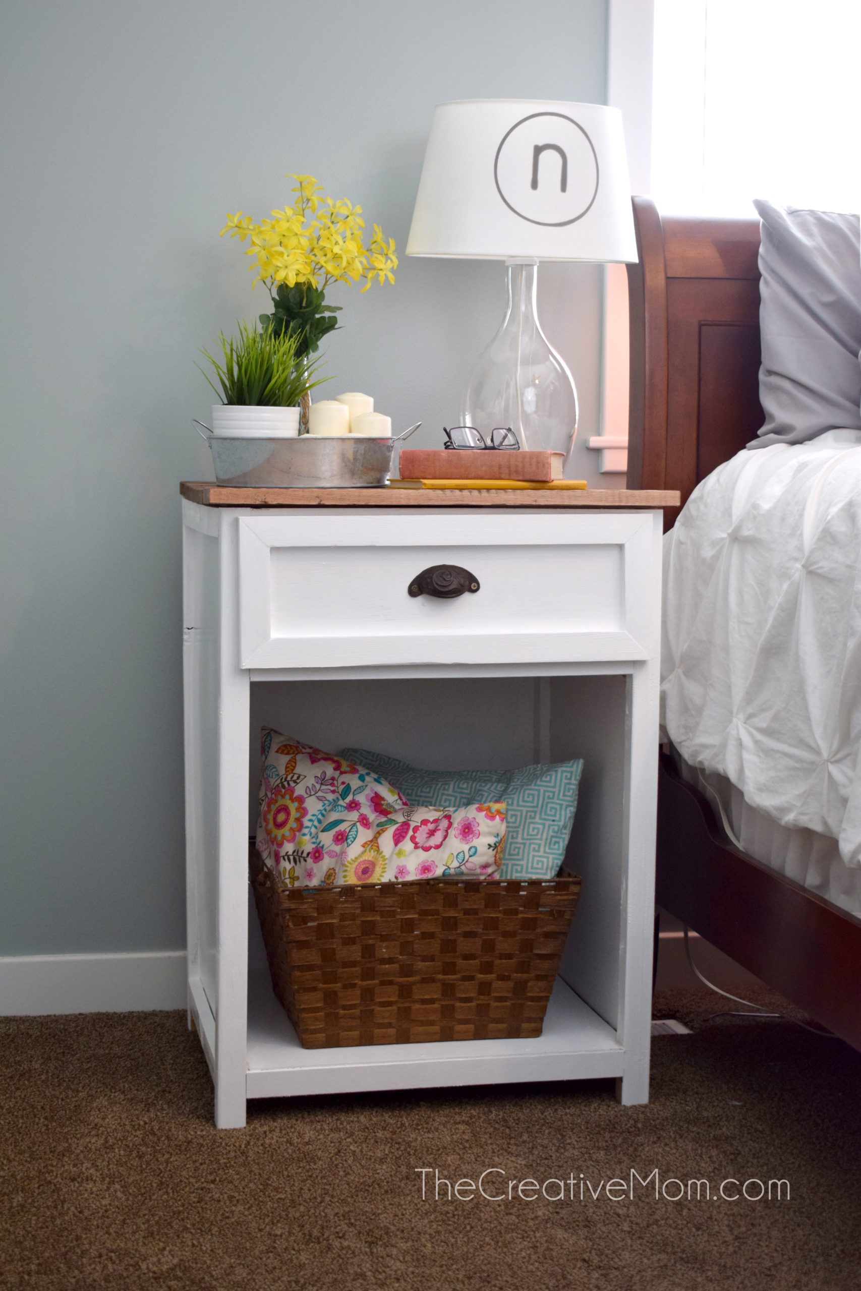 Farmhouse Nightstand Free Building Plans The Creative Mom