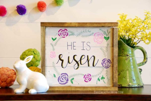 he is risen rustic farmhouse sign