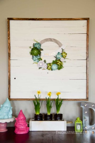 paper flower wreath display