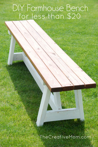 2×4 farmhouse bench- build it for less than $20!