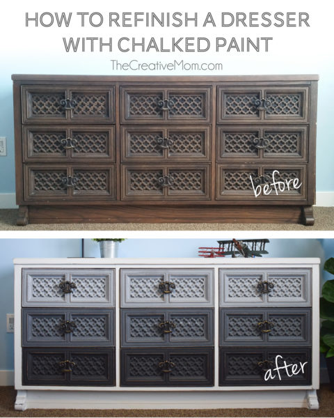 how to refinish dresser chalked paint