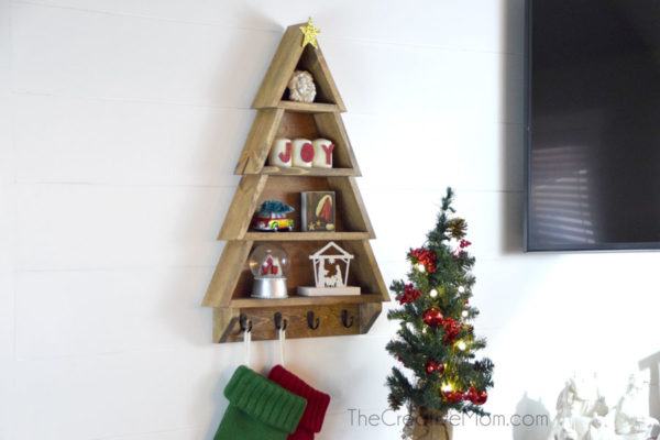 How To Make A Diy Christmas Tree Shelf The Creative Mom