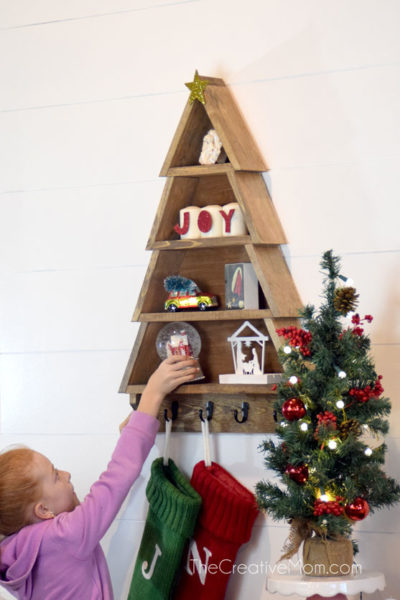 How to make a diy christmas tree shelf the creative mom like i said this project is part of the home depots diy workshops the home depot offers three types of workshops do it yourself diy do it herself solutioingenieria Images
