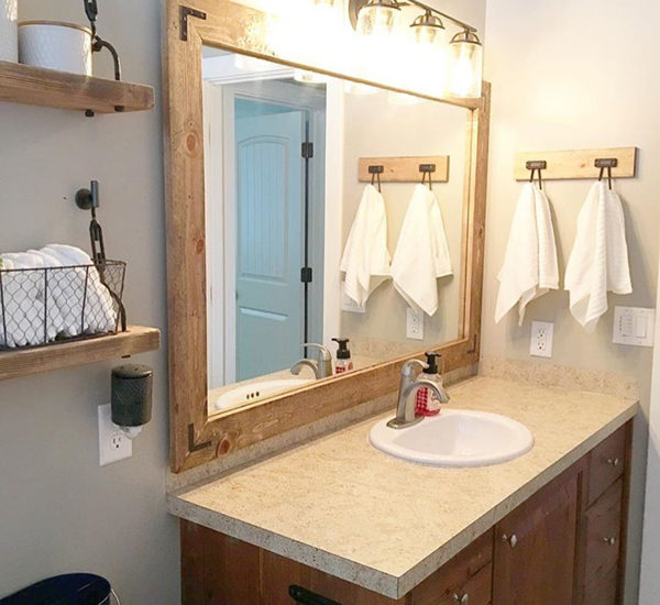 how to frame a bathroom mirro