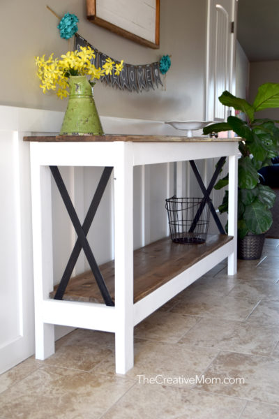 industrial farmhouse console table building plans