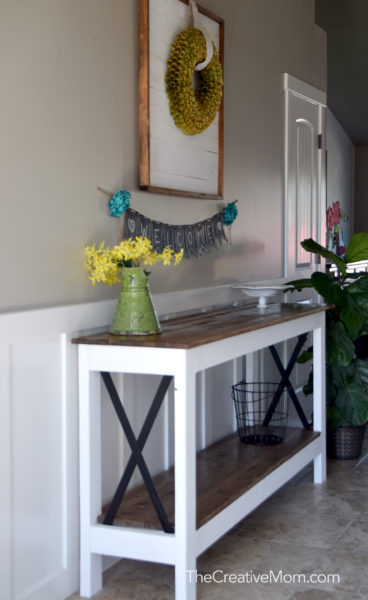industrial farmhouse console table