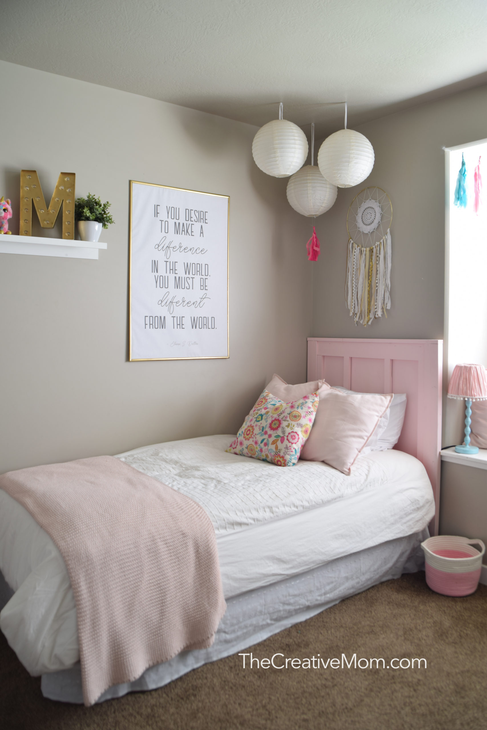 Simple Pink and Gold Girls Room (how to create an engineer print and a free printable)