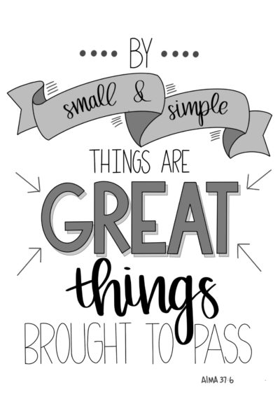 Free LDS Printable- By Small and Simple Things