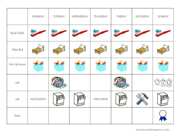 Weekly chore sticker chart
