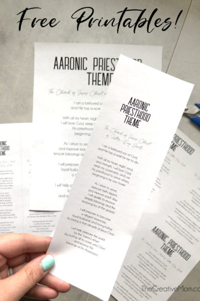 Aaronic Priesthood Theme- free printables