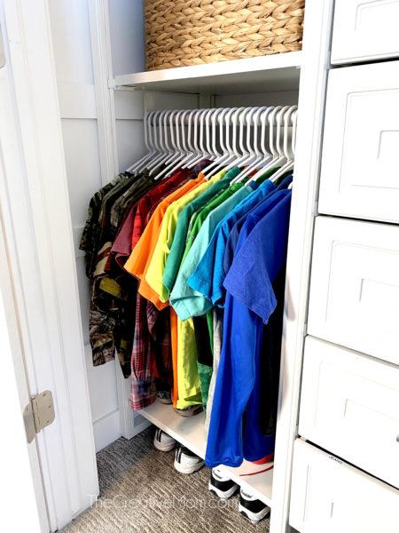 kids closet organized rainbow order