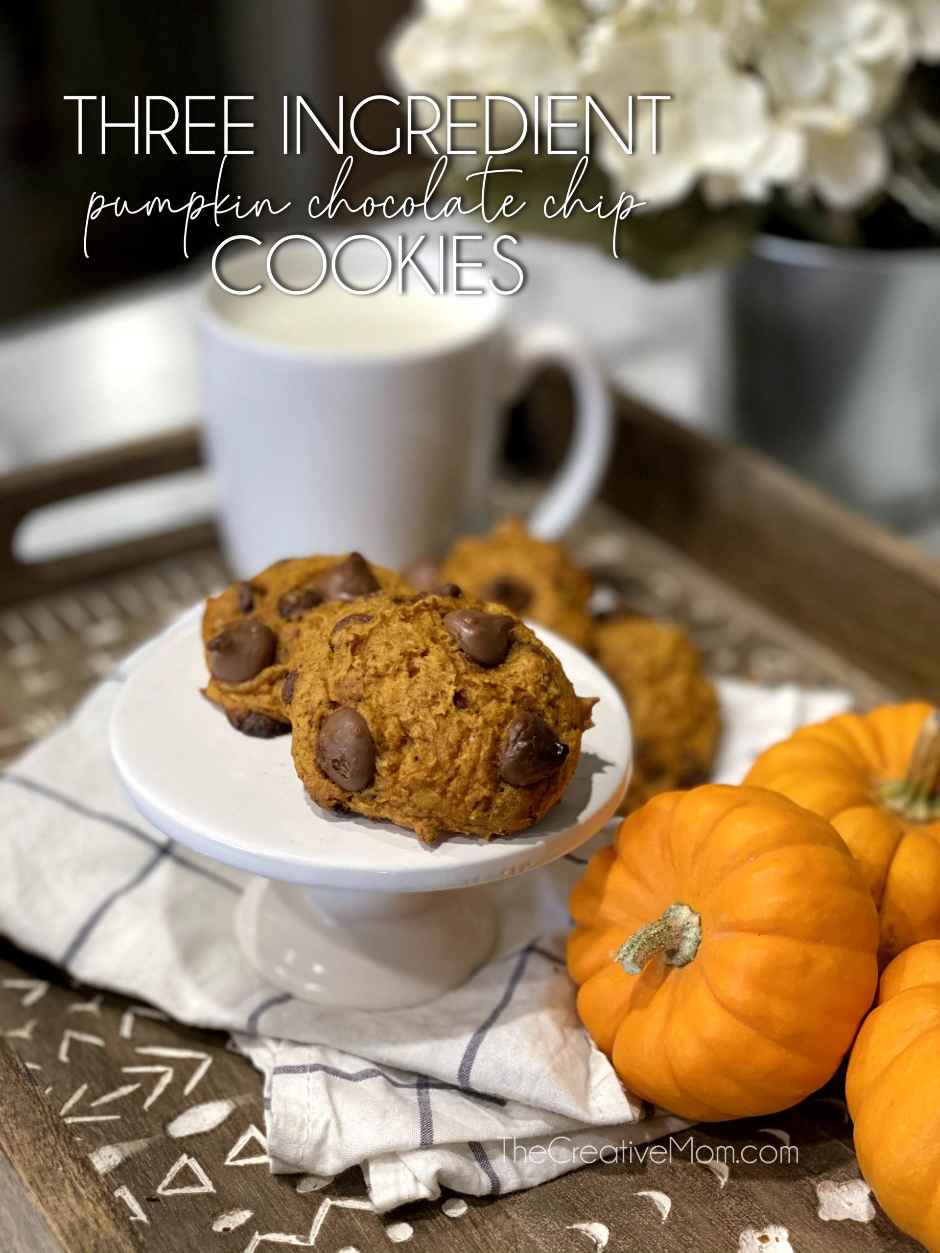 Three Ingredient Pumpkin Chocolate Chip Cookie Recipe