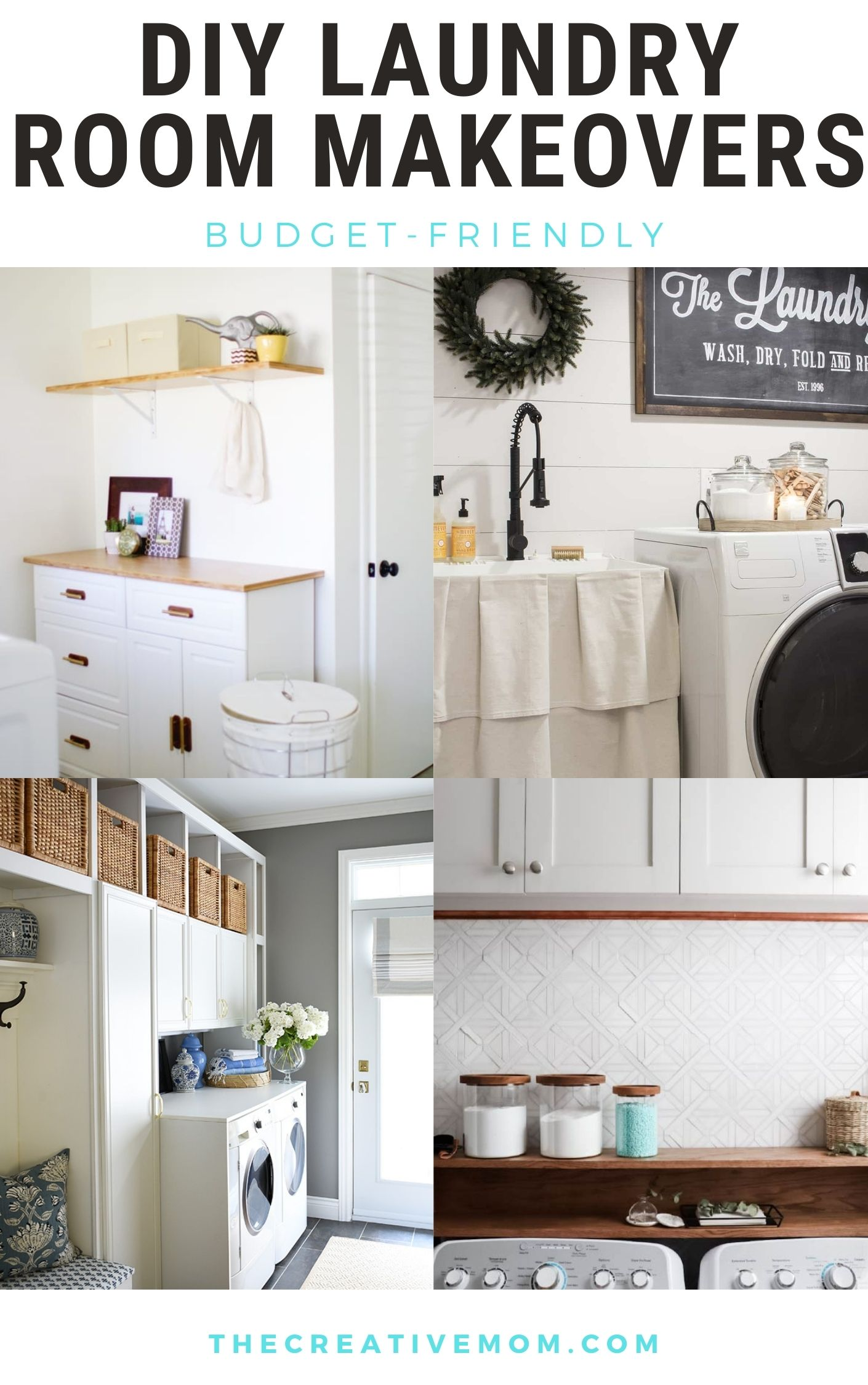 DIY laundry room makeovers budget friendly collage of 4 images